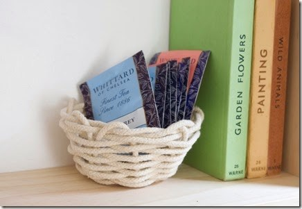 DIY woven rope basket for display (via makeandfable.com)
