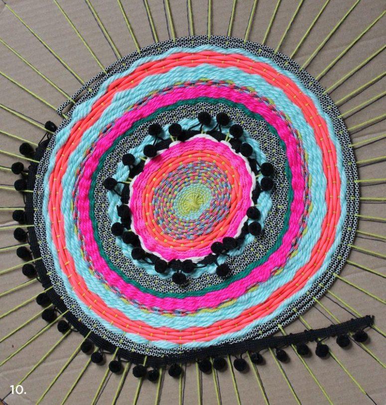 DIY woven circle mat with colorful pompom trim (via abeautifulmess.com)