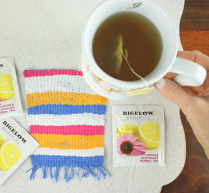 DIY colorful striped coasters with fringe (via www.gina-michele.com)