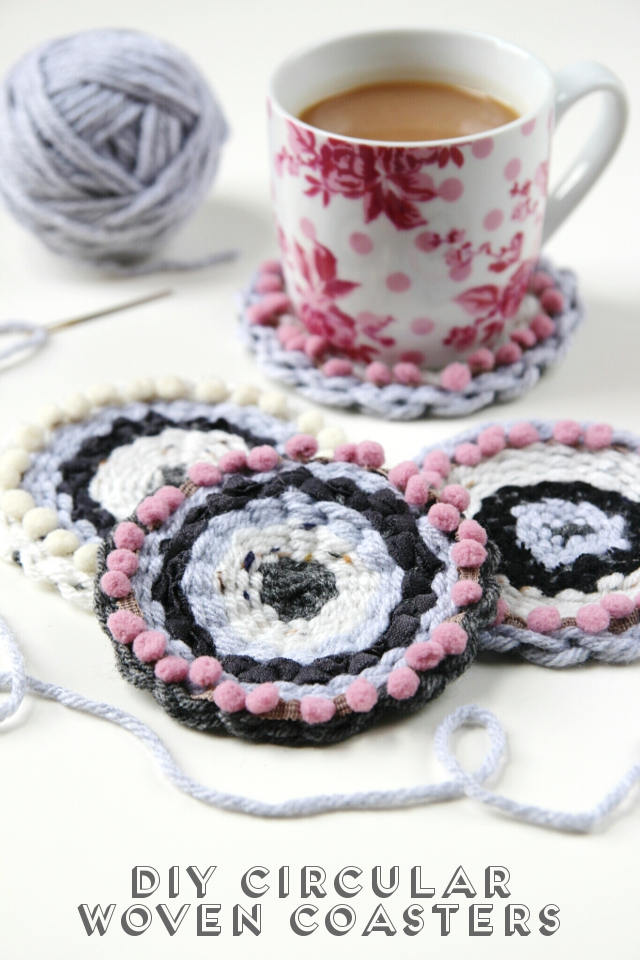 DIY circular woven coasters with pompoms (via www.gatheringbeauty.com)