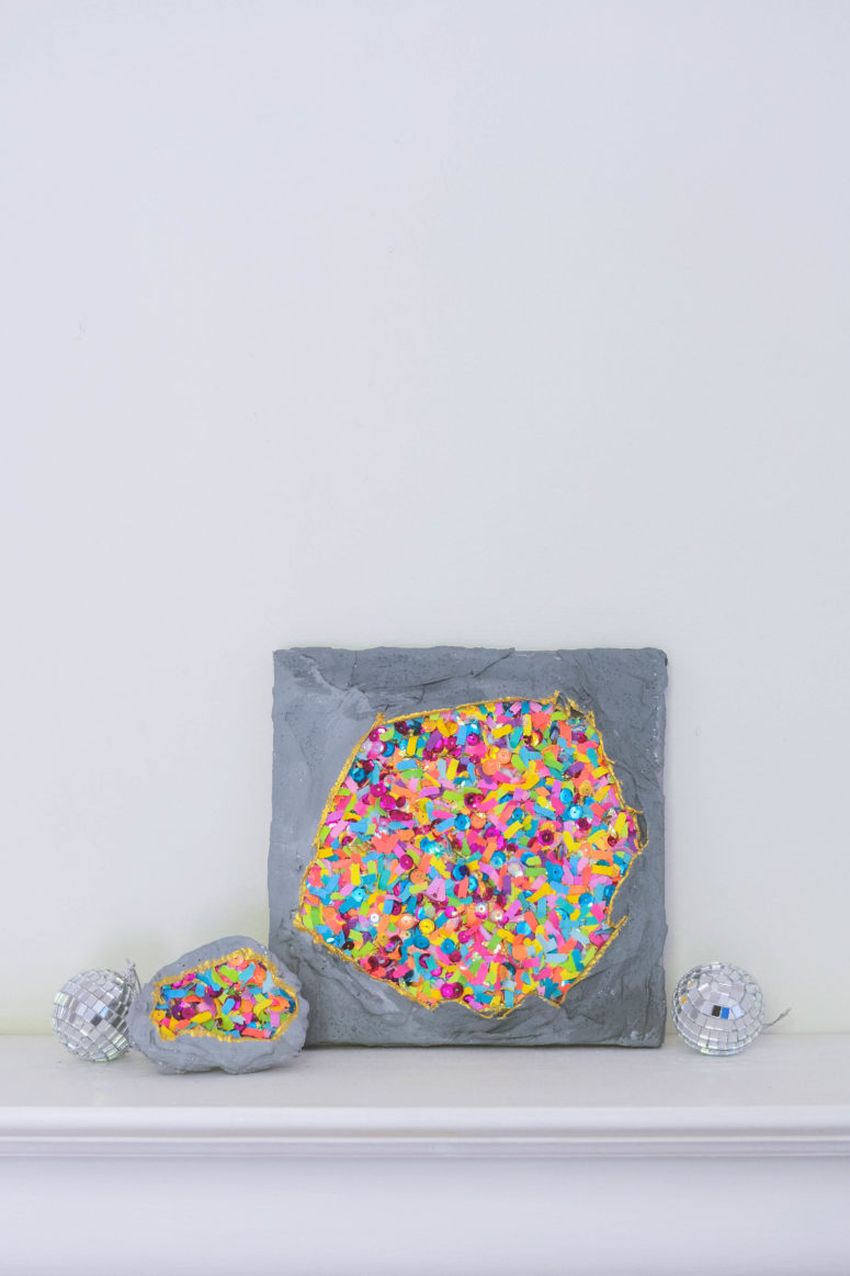 DIY wall art with confetti geodes (via www.theconfettibar.com)