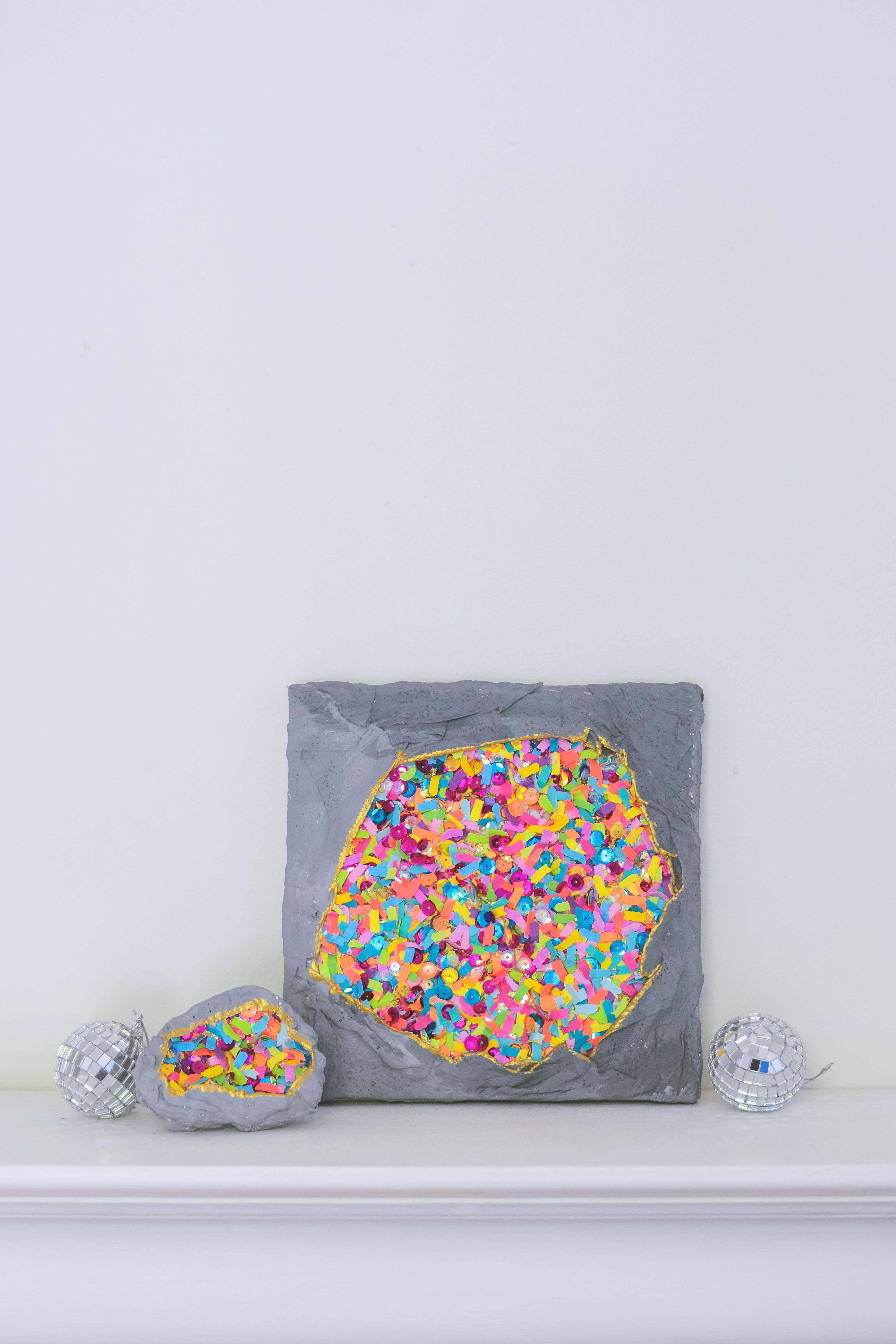 DIY wall art with confetti geodes
