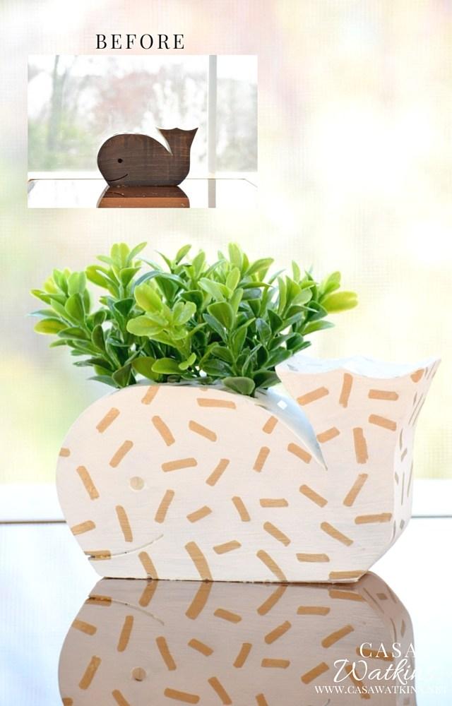 DIY confetti whale planter (via casawatkinsliving.com)