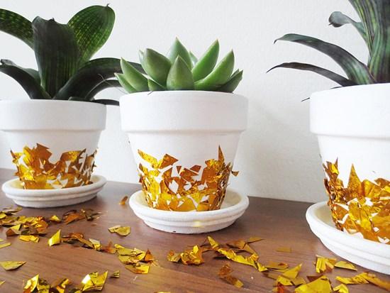 DIY gold confetti planters (via bywilma.com)