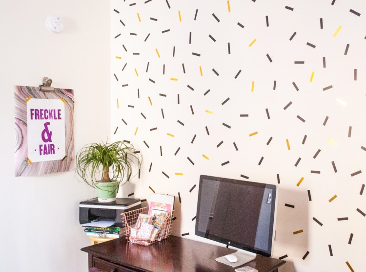 DIY oversized confetti wall with washi tape (via www.shelterness.com)