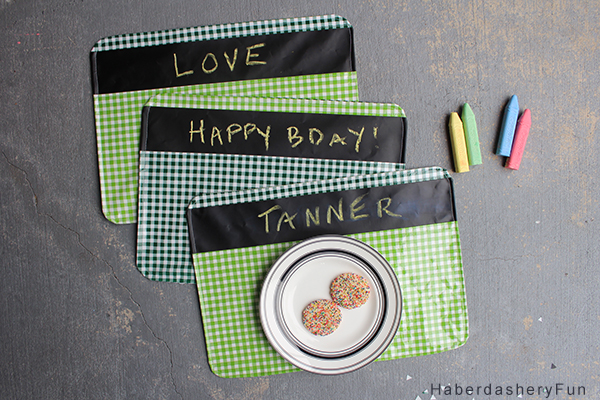 DIY chalkboard fabric placemats