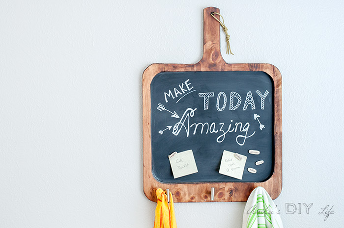 DIY magnetic chalkboard styled as a cutting board