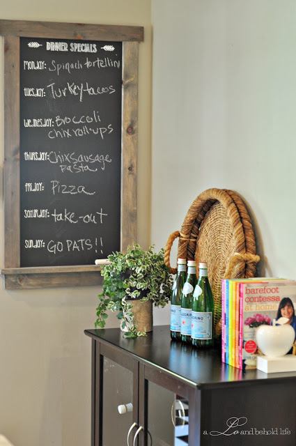 DIY framed chalkboard for notes (via www.aloandbeholdlife.com)
