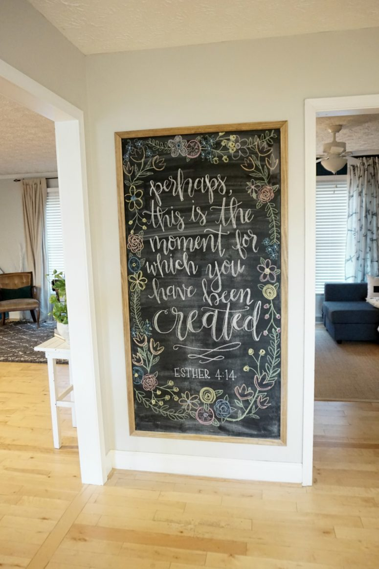 DIY framed magnetic chalkboard on a wall (via dahliasanddimes.com)