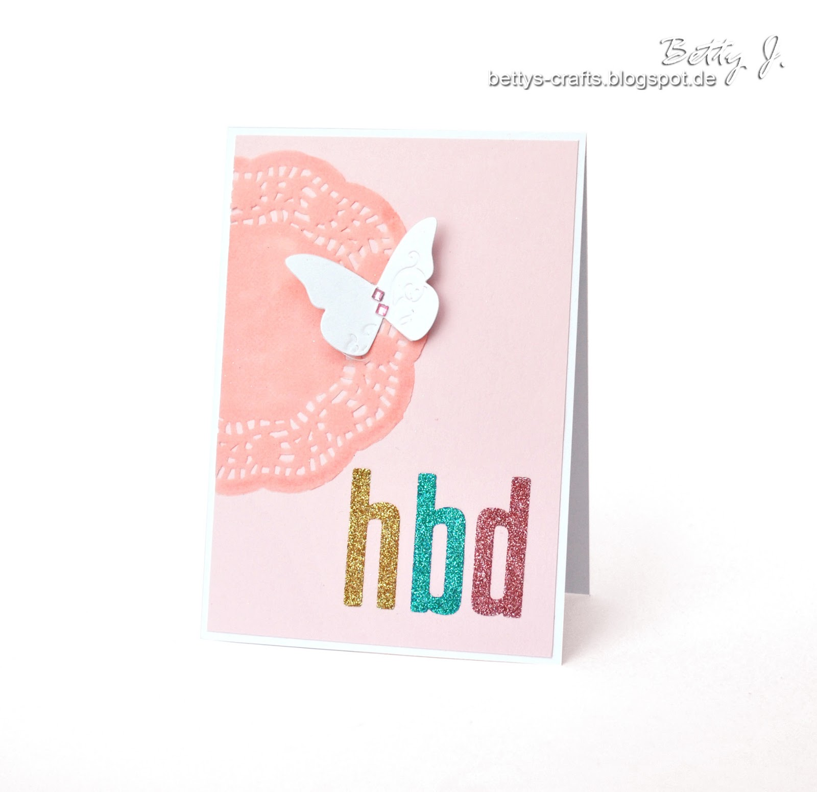 DIY pink doily and butterfly birthday card