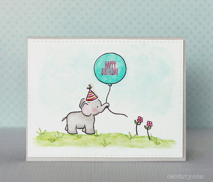DIY watercolor elephant with a balloon card (via www.debduty.com)