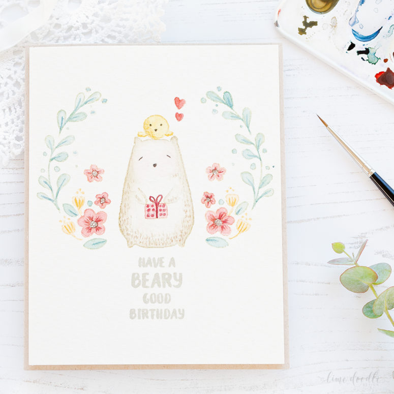 DIY tender watercolor card with animals (via limedoodledesign.com)