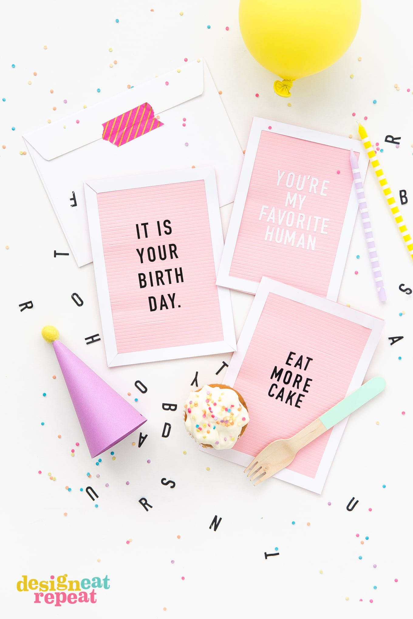 DIY letterboard birthday card
