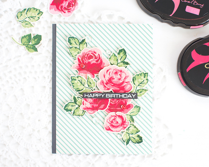 DIY vintage-inspired floral birthday card (via mayholicdesign.com)
