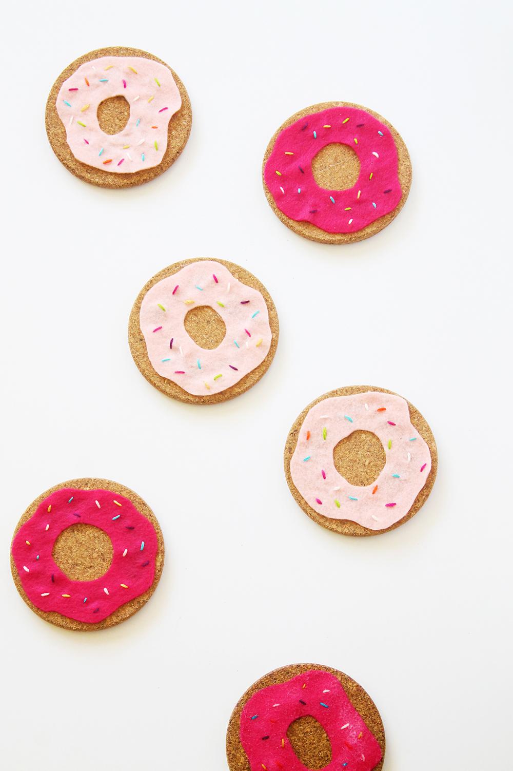 DIY felt and cork donut coasters