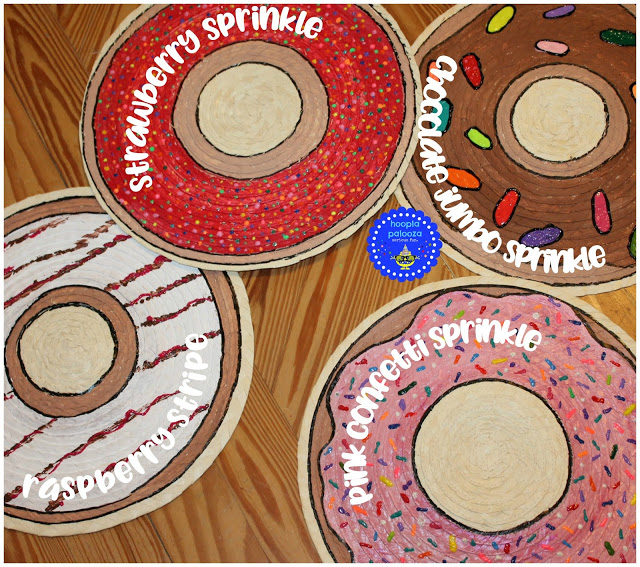DIY donut placemats of plain IKEA ones (via www.hoopla-palooza.com)