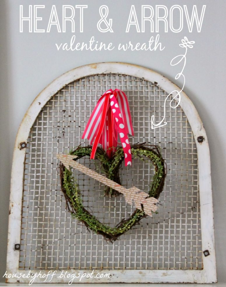 DIY Valentine heart and arrow wreath (via www.housebyhoff.com)