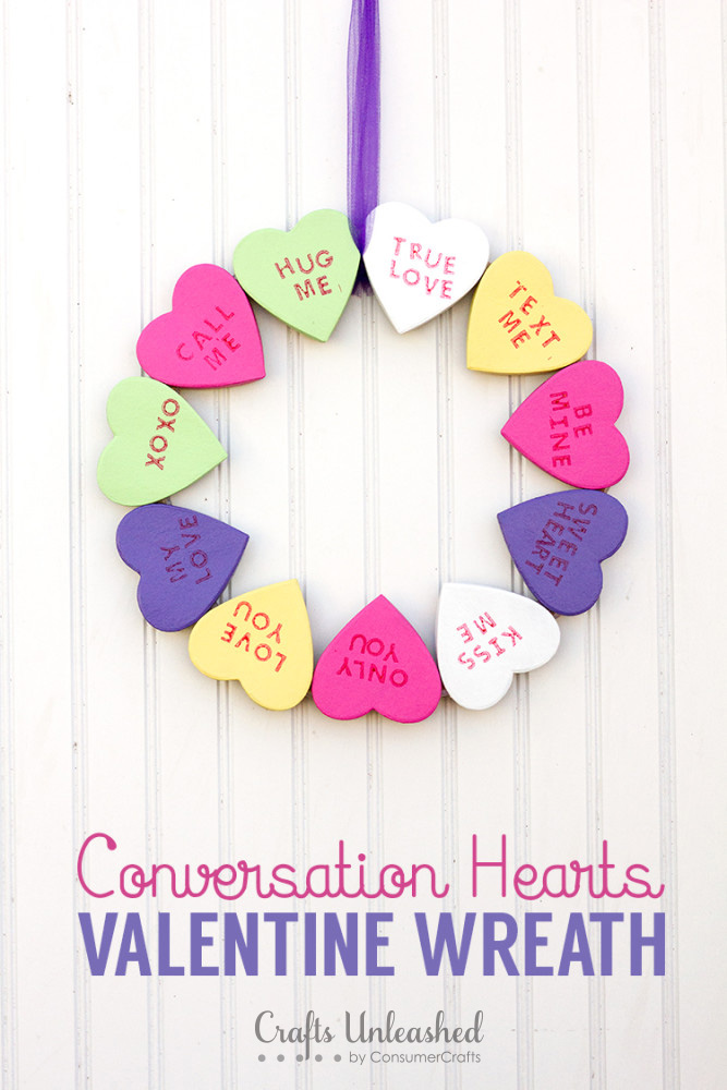 DIY conversation heart wreath for Valentine's Day (via blog.consumercrafts.com)