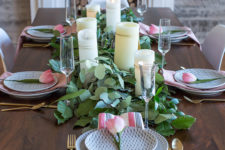 DIY fresh greenery and candles table runner