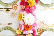DIY silk flower table runner