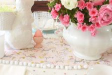 DIY scrapbook paper and pompom table runner