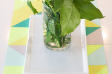 DIY spring geometric table runner of paper