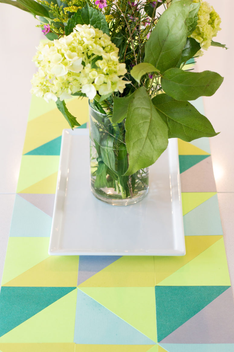 DIY spring geometric table runner of paper (via www.anightowlblog.com)