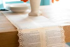 DIY book paper table runner