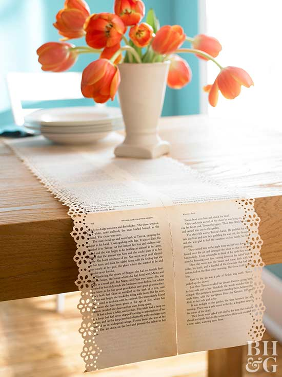 DIY Book Paper Table Runner (via Www.bhg.com)