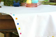 DIY table runner with colorful spots