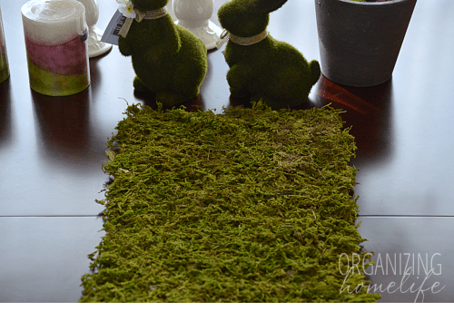 DIY moss table runner (via www.organizinghomelife.com)