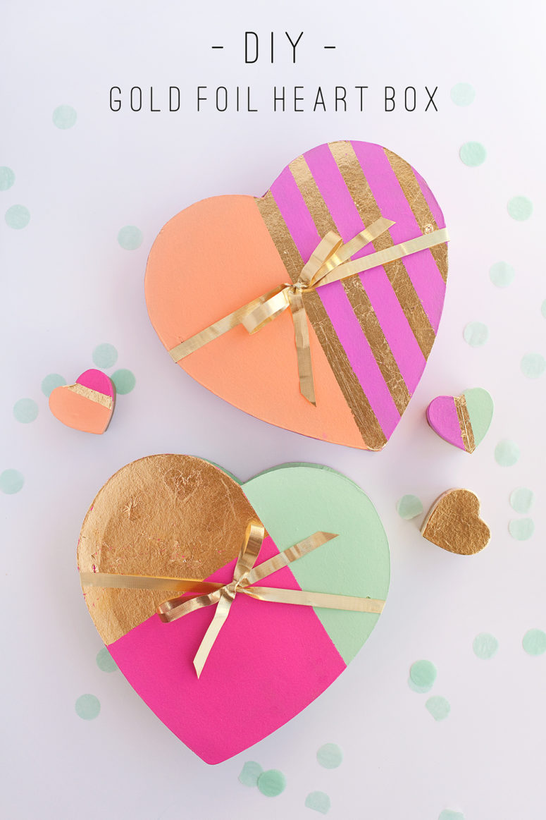DIY color block heart box with gold foil (via tellloveandparty.com)