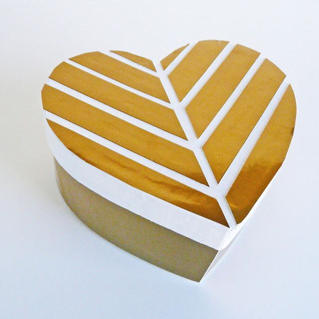 DIY gold foil chevron heart shaped box