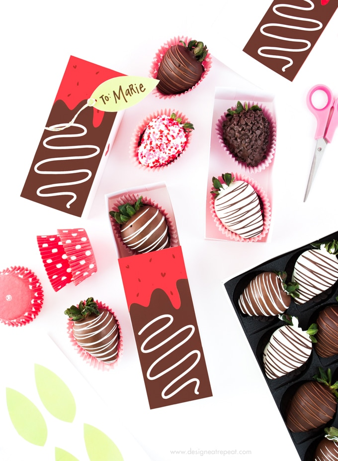 DIY strawberry chocolate Valentine's Day gift boxes (via www.designeatrepeat.com)