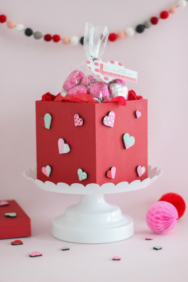 DIY painted red box with painted wooden hearts