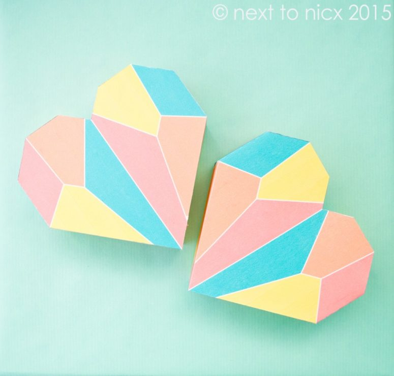 DIY printable heart boxes with geometric prints (via www.nexttonicx.com)