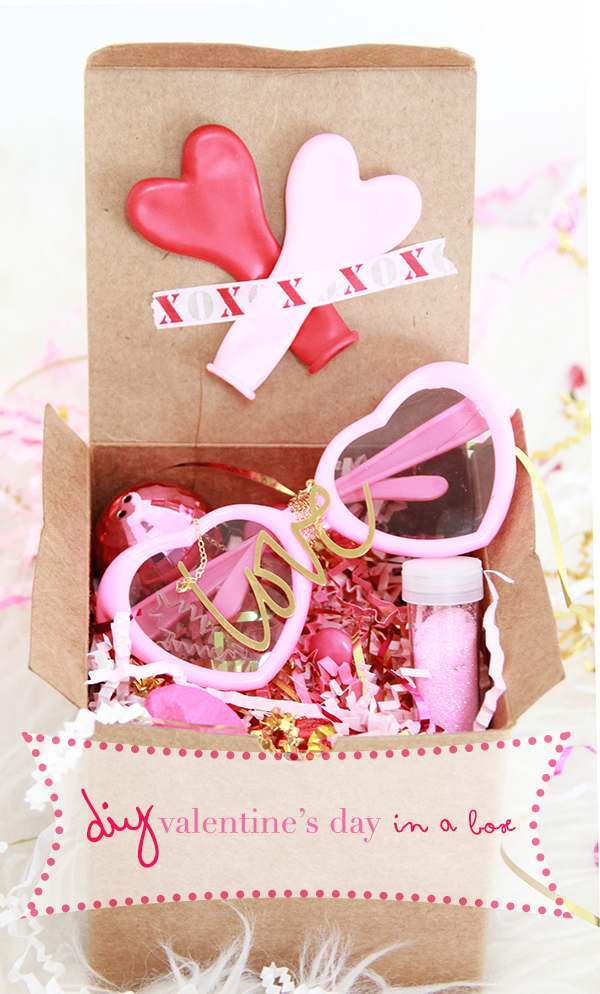 DIY Valentine's Day box with balloons