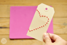 DIY stitched heart gift tags