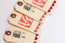 DIY Valentine's Day gift tags with fabric hearts