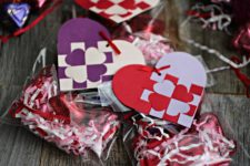 DIY heart-shaped woven gift tags in purple and red