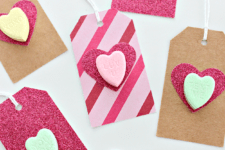 DIY gift tags with conversation hearts
