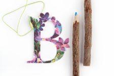 DIY vintage floral letter gift tags
