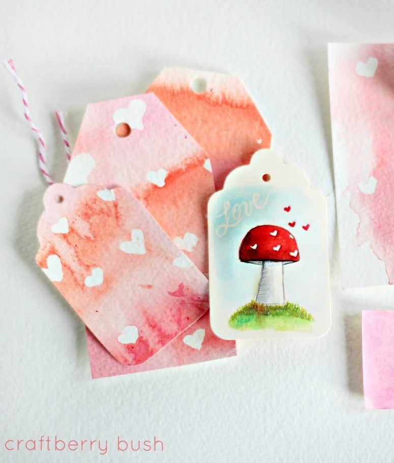 DIY watercolor Valentine gift tags (via www.craftberrybush.com)