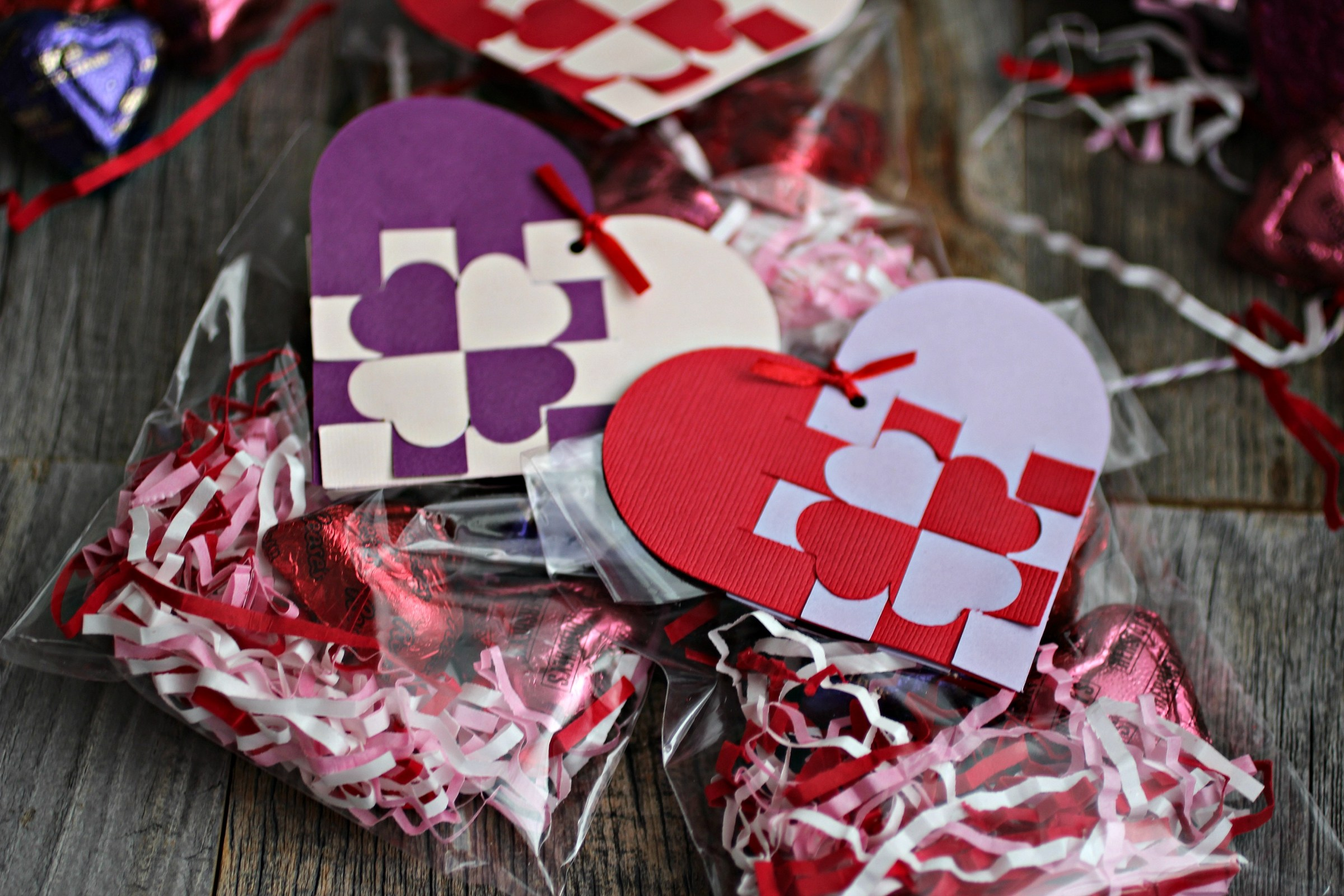 DIY heart shaped woven gift tags in purple and red
