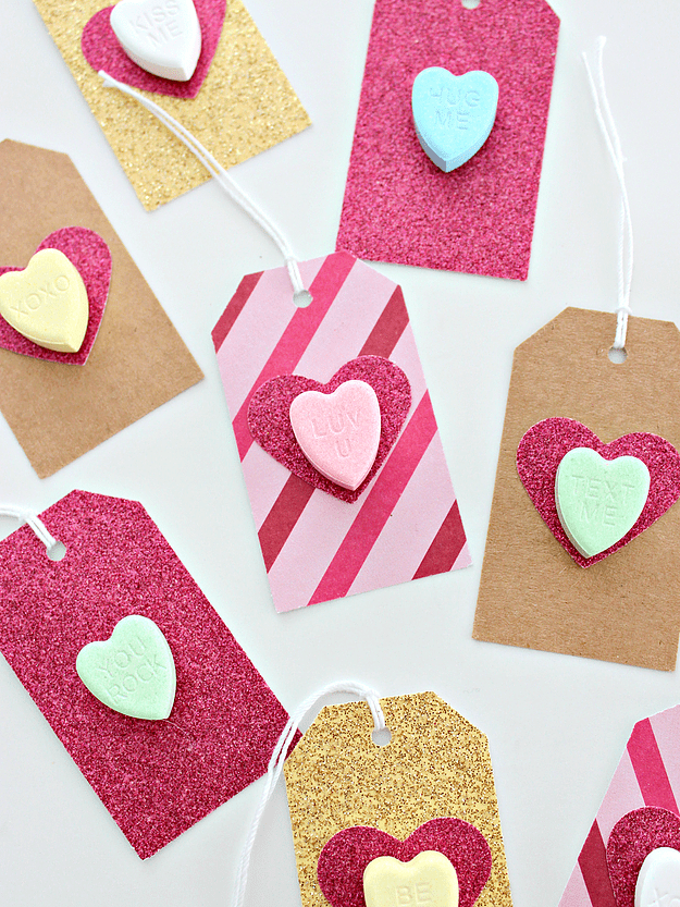 DIY gift tags with conversation hearts (via www.whitehousecrafts.net)
