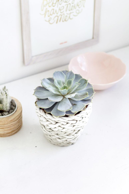DIY woven planter cover of air dry clay (via fallfordiy.com)