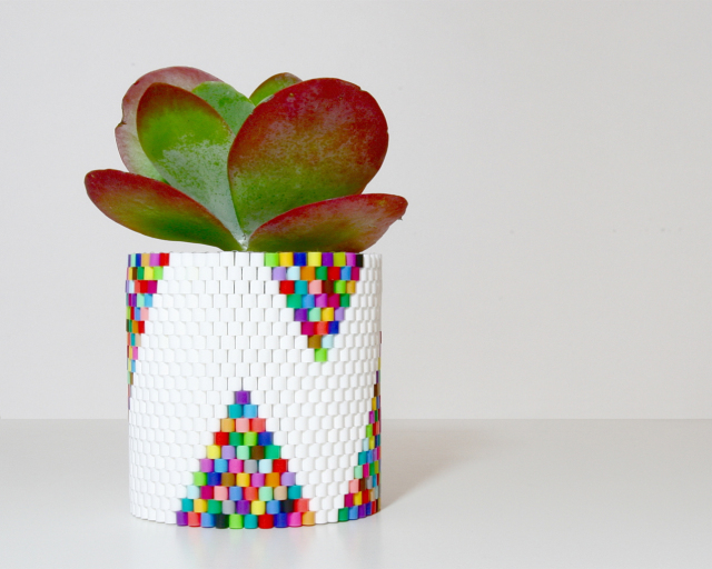 DIY colorful woven beads planter