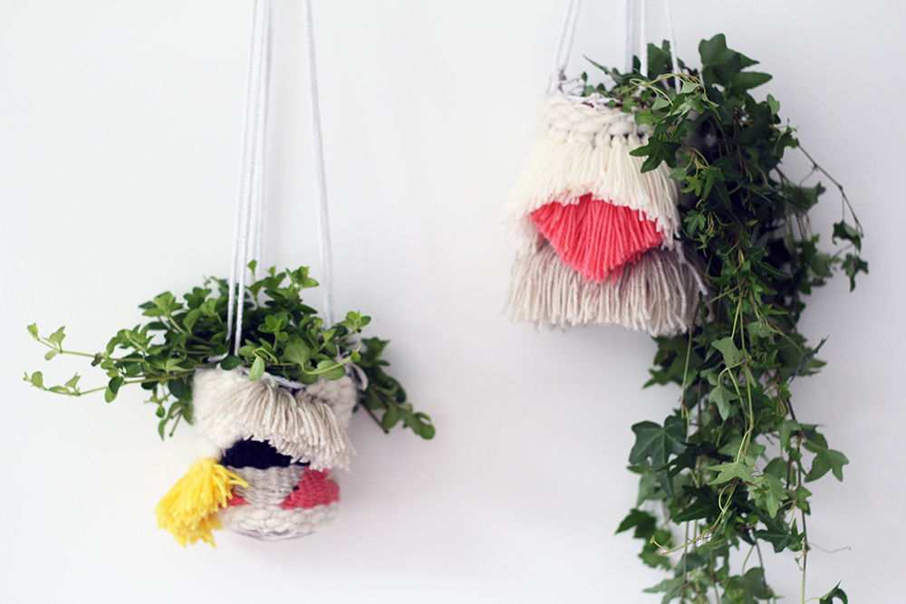 DIY woven hanging planters with fringe