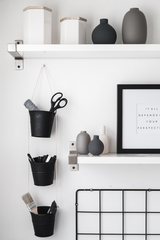 DIY chalkboard tin bucket organizer