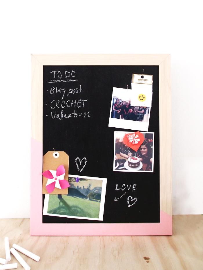DIY chalkboard pinboard (via www.paperandpin.com)